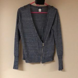 J. Crew Navy Zipper Moto Sweater